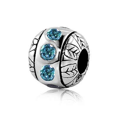 Pandora Leaves Flowers Swarovski Crystal Charm