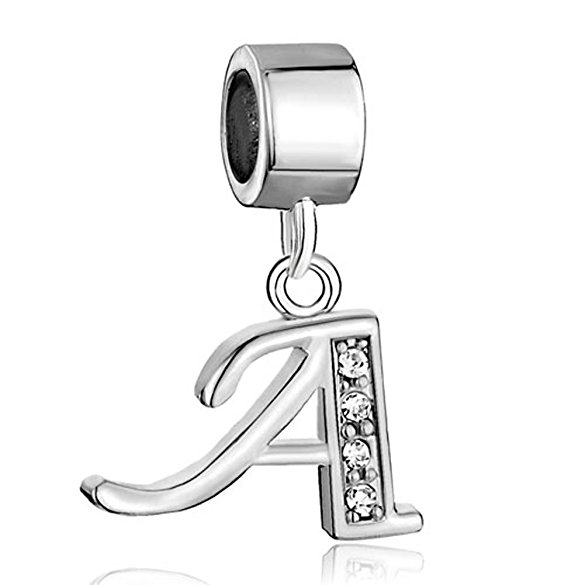Pandora Letter A With Crystal Spacer Dangle Charm