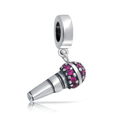 Pandora Microphone With Pink CZ Bead