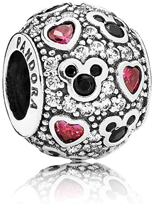 Pandora Mixed Enamel Heart And Mickey Charm