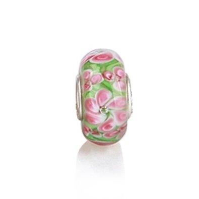 Pandora Murano Pink Green Floral Charm