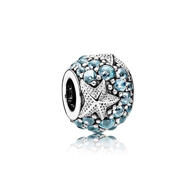 Pandora Ocean Blue CZ Stone Heart Charm