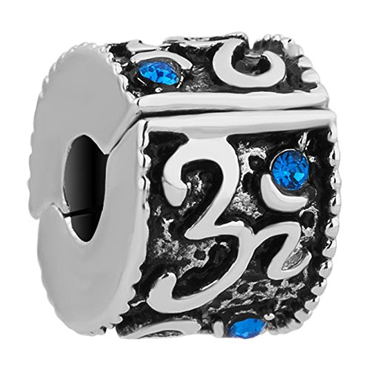 Pandora Om In Circle With Clear Swarovski Crystal Charm