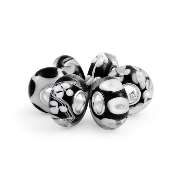 Pandora Onyx Black White Glass Bead