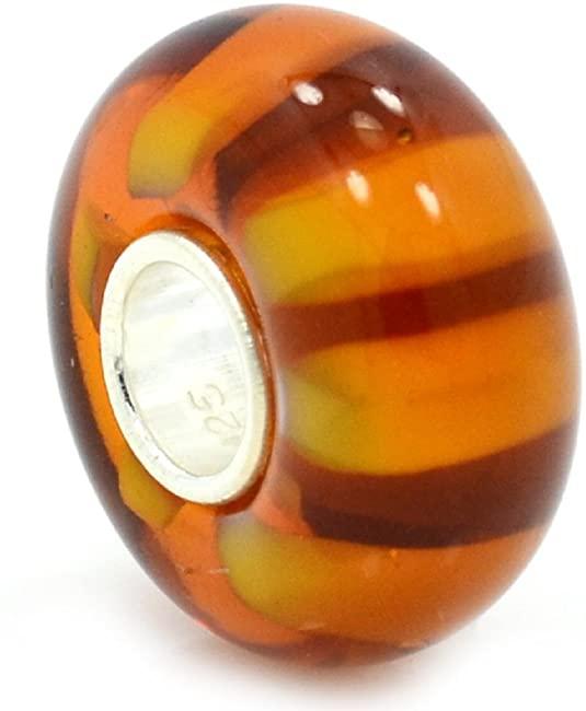 Pandora Orange Tiger Stripe Glass Charm