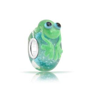 Pandora Painted Frog Barrel Glass Charm