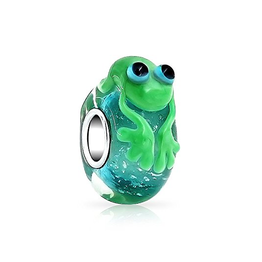 pandora painted murano glass frog charm
