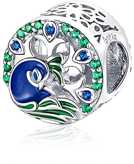 Pandora Peacocks Feather Glass Charm
