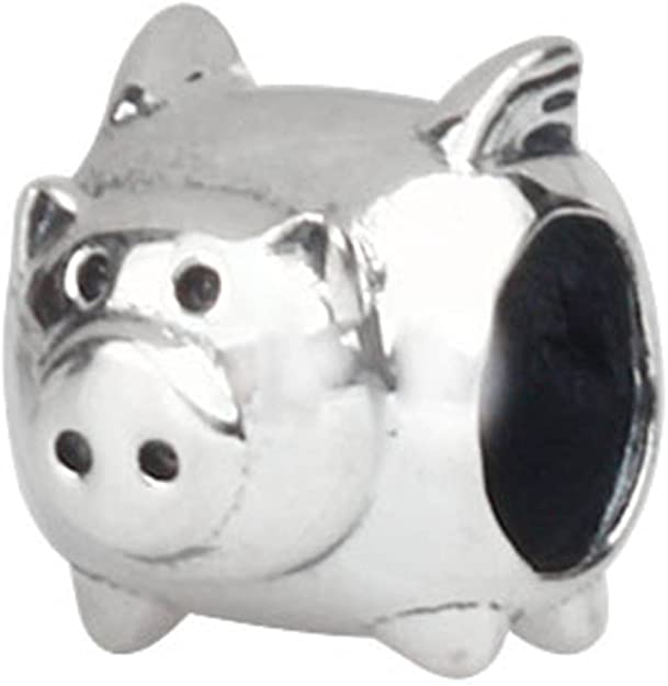 Pandora Pig With Feathers Charm