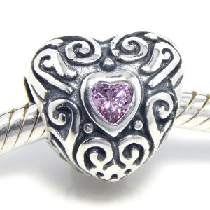 Pandora Pink CZ Heart October Birthstone Charm