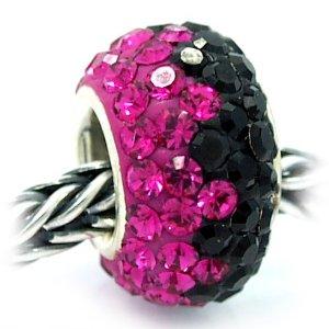 Pandora Pink and Black Crystal Shine Bead