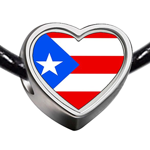 a0ab757dd Pandora Puerto Rico Flag Heart Photo Charm | Buy Top Rated Charms