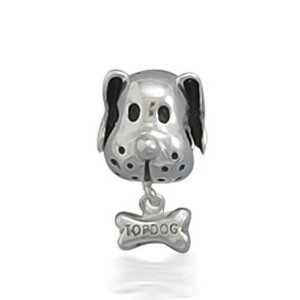 Pandora Puppy Head With Bone Bead