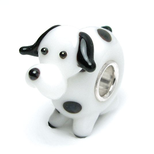Pandora Puppy With Crown Glass Charm