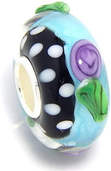 Pandora Purple Polka Glass Charm