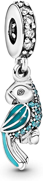 Pandora Red Blue Crystals Parrot Charm
