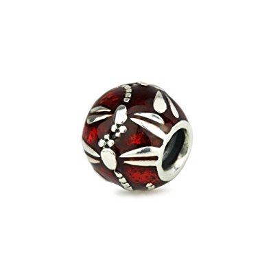 Pandora Red Enamel Dragonfly Charm