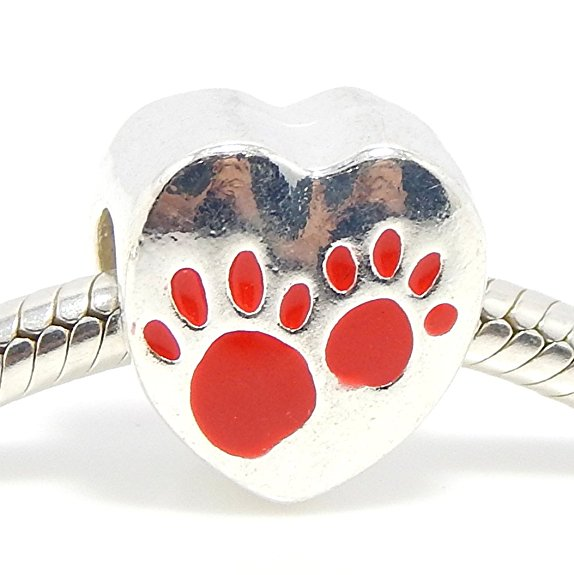 Pandora Red Enamel Heart Puppy Love Dog Charm