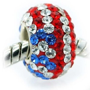 Pandora Red White Blue Swarovski Crystals Charm