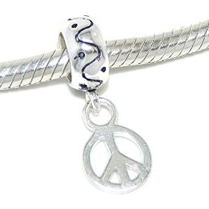 Pandora Ring Shape Peace Sign Dangle Charm