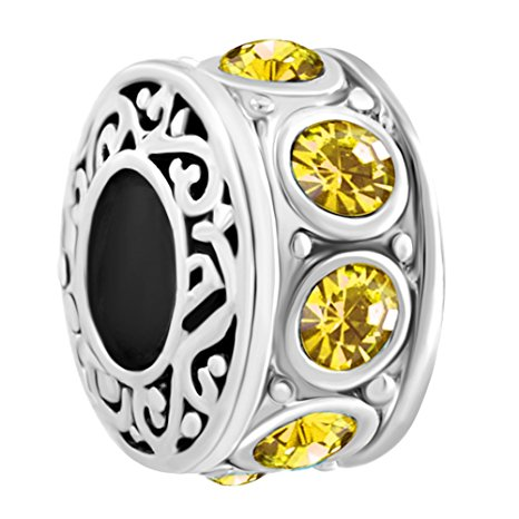 Pandora Round Black Yellow Dotted Glass Charm