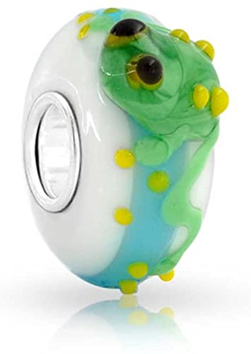 Pandora Round Leaping Green Frog Glass Charm