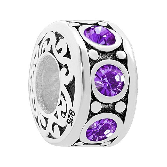 Pandora Round Purple February Birthstone Sworovski Charm