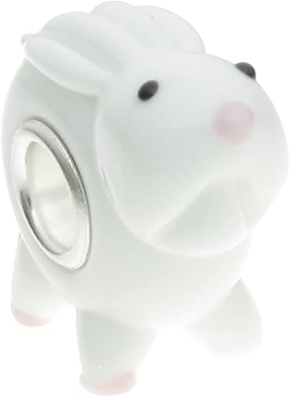 Pandora Round White Bunny Glass Charm