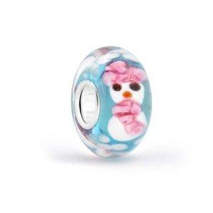 Pandora Santa Claus on White Murano Glass Charm