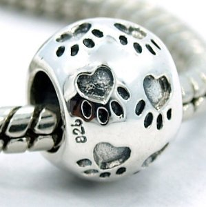 dd3d465aa Pandora Silver Engraved Puppy Dog Paw Print Charm | Buy Top Rated Charms