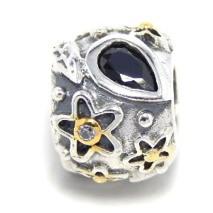 Pandora Silver Flower Bail Teardrop Black Onyx Charm