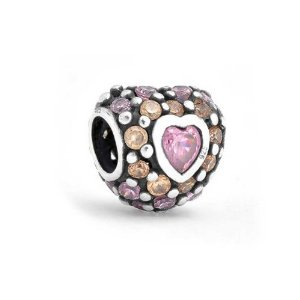 Pandora Silver Hearts With Pink CZ Charm