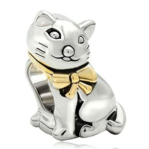 Pandora Silver Plated Fat Cat Charm