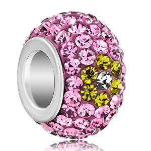 Pandora Silver Plated Pink Green Crystals Floral Charm