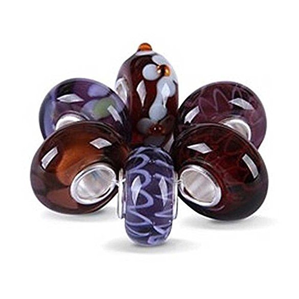 Pandora Six Assorted Purple Glass Beads