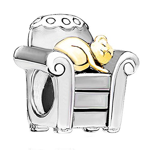 Pandora Sleeping Cat in Chair Charm