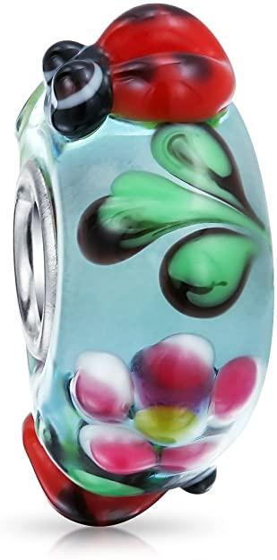 Pandora Spring Lady Bug Flower Blue Glass Charm