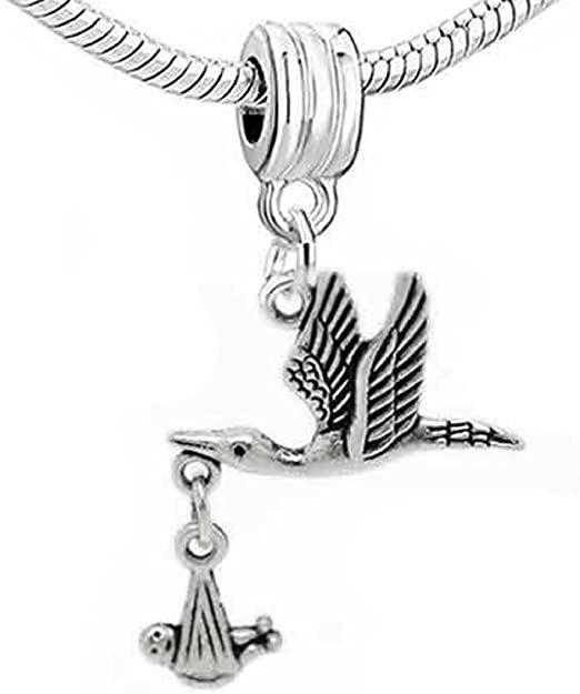 Pandora Stork Bird Baby Carrier Charm