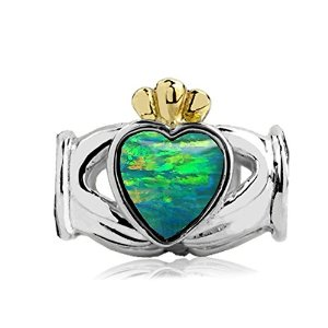 Pandora Two Tone Claddagh Blue Green Opal Charm