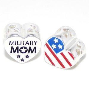 Pandora US Flag on Heart Military Mom Charm