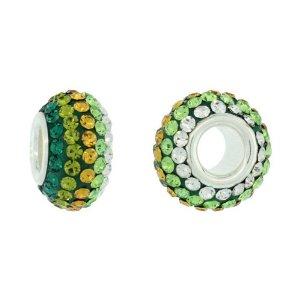 Pandora White Core Olivine Green CZ Charm