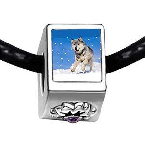Pandora Wolf Head Amethyst Crystal Charm