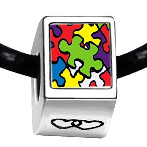 Autism Charms For Pandora Bracelets: Pandora Word Autism Photo Double Heart Charm