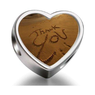 Pandora Words Thank You Beach Sand Heart Photo Charm