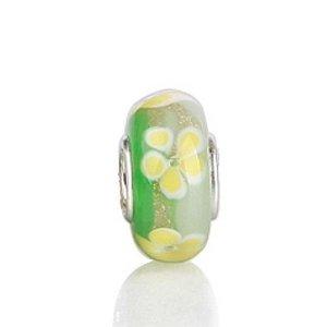 Pandora Yellow Flower Green Murano Glass Charm
