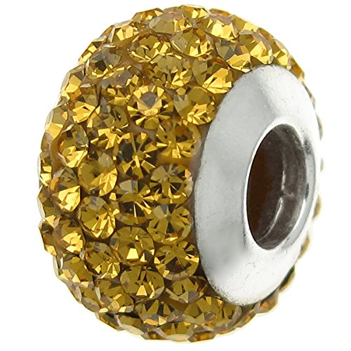 Pandora Yellow Frosted Glass With Crystal November Birthstone Charm