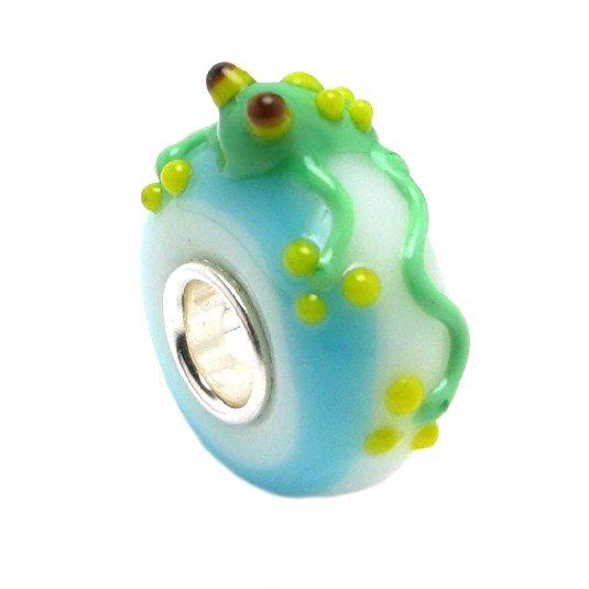 Pink and Green Frog Pandora Glass Charm