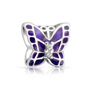 Purple Butterfly Pandora Bead