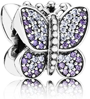 Purple Butterfly on White Glass Pandora charm