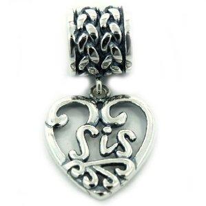 SIS Heart Pandora Dangle Charm